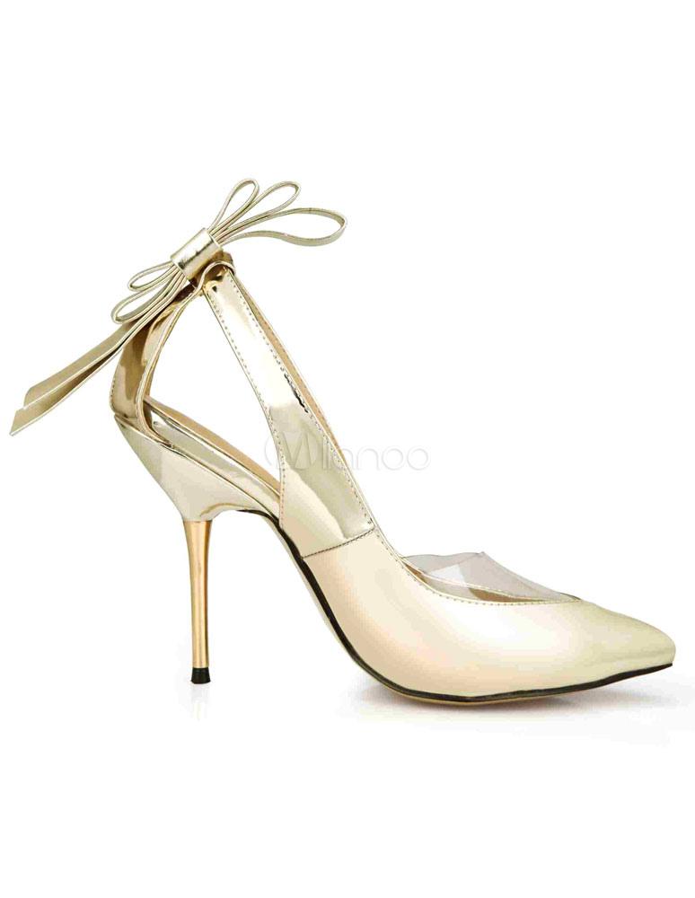 Sandalias plata señalaron Toe arco PU tacones para las mujeres EBheLeWD