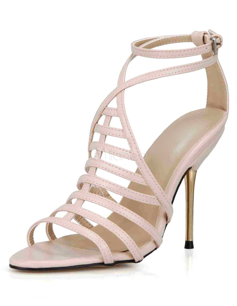 Buy Pink Gladiator Sandals Straps PU Heels for Women for $41.99 in Milanoo store