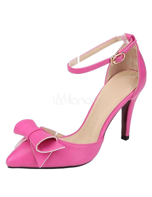 Buy Pink Sandals Bow Straps PU Heels for Women for $34.19 in Milanoo store