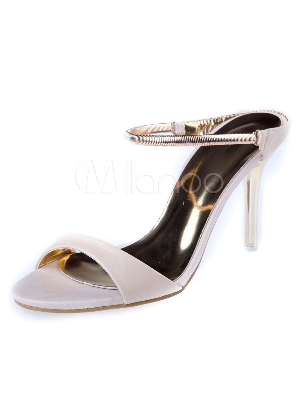 White Sandals Straps PU Heels for Women