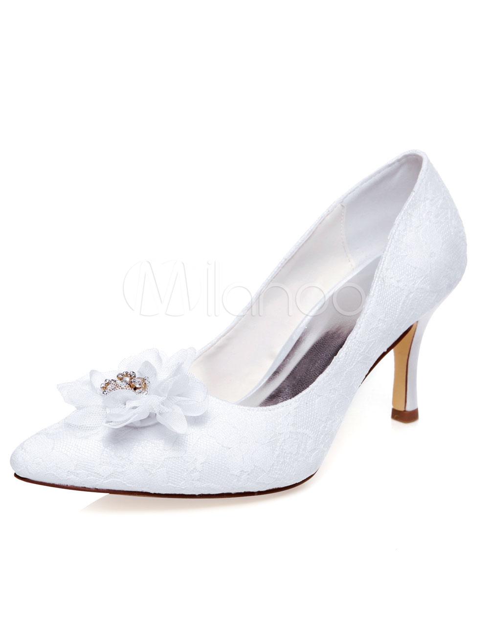 White Bridal Pumps Flowers Chic Satin Pumps