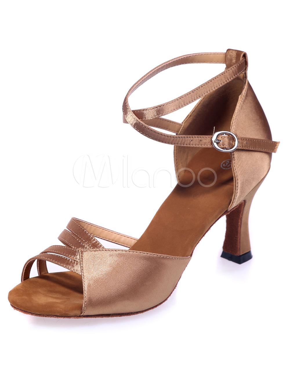 Gold Latin Dance Sandals Cut-Out Satin Heels for Women