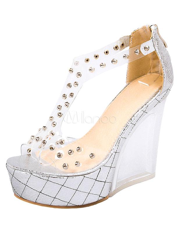 30addc1eaa18d1 Sandali zeppa bianchi con rivetti punta aperta di PVC per donne -No.1 ...
