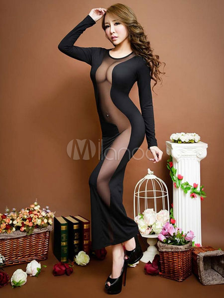 Buy Black Sexy Dress Full Sleeve Sheer Insert Round Neck Club Dress for $18.19 in Milanoo store