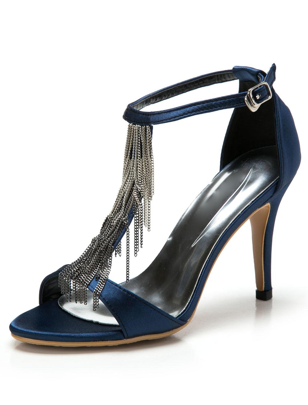 High Heel Sandals Blue T Type Sandal Shoes Satin 1920s Vintage Shoes