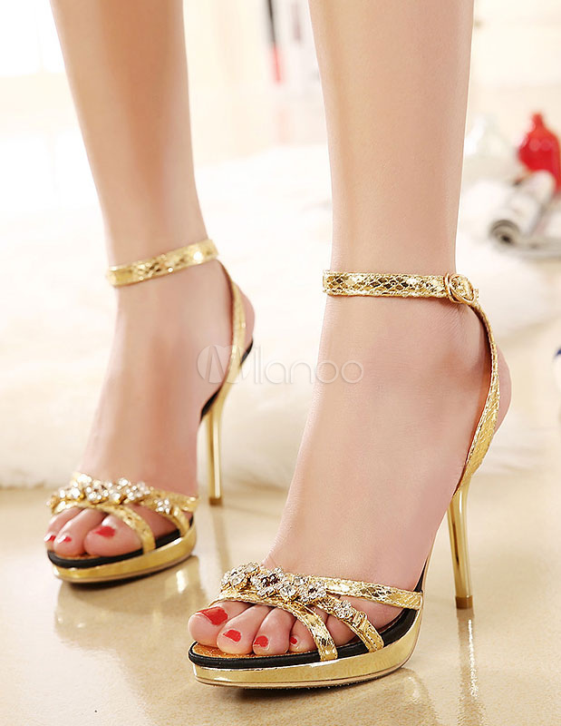 Buy Gold Sandals Straps Rhinestone PU Heels for Women for $37.04 in Milanoo store