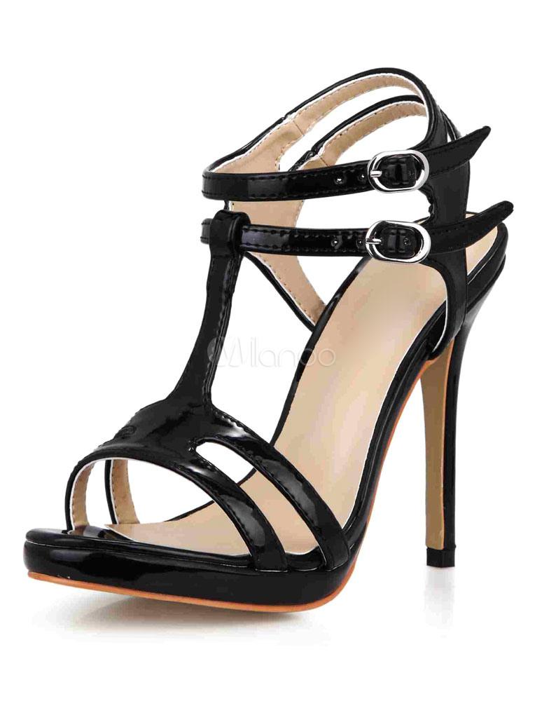 Black Sandals Straps Patent PU Heels for Women