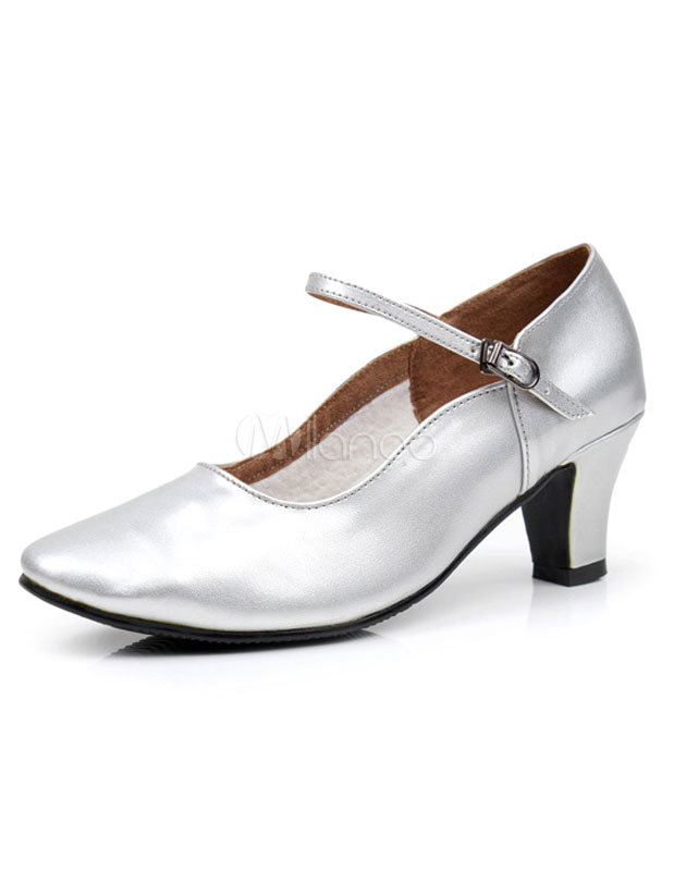 Silver Latin Dance Pumps Straps Glazed PU Heels for Women