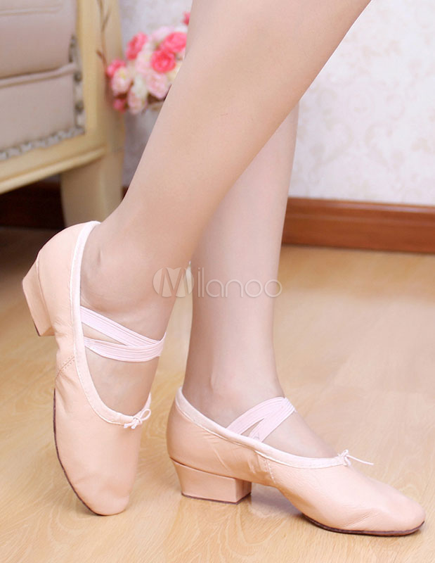 Zapatos de baile de mujer Pigskin Pink Round Toe Strap Zapatos de baile de ballet Mujeres Jazz Dance Shoes TJRHQi8
