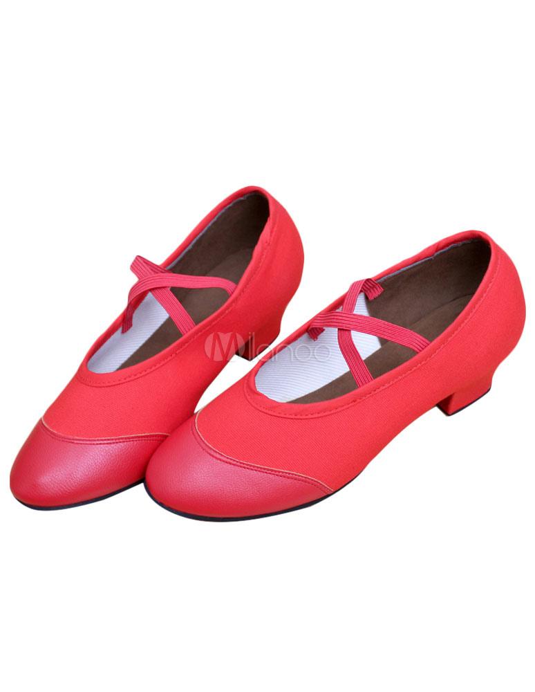 Danza Jazz rojo zapatos lona Criss Cross correas zapatos para mujeres sP3gf8dNSF