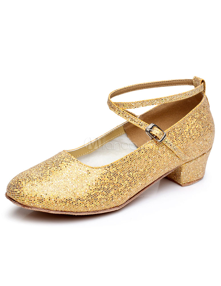 Gold Latin Dance Shoes Straps Glitter Shoes for Women