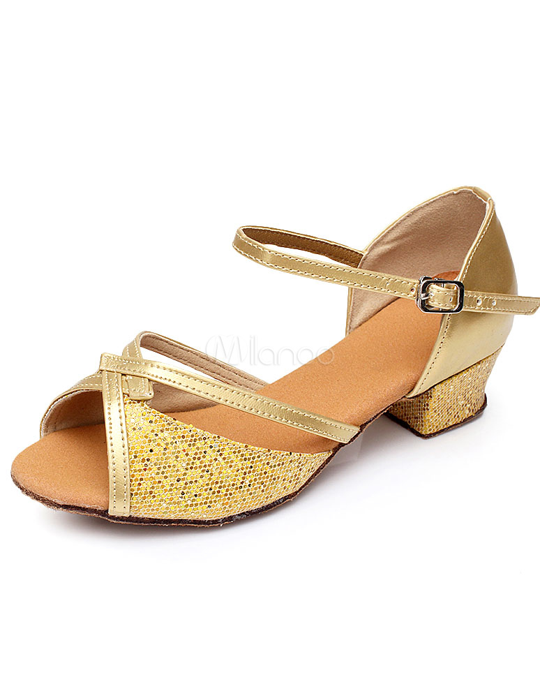 Gold Latin Dance Sandals Straps Glitter Heels for Women
