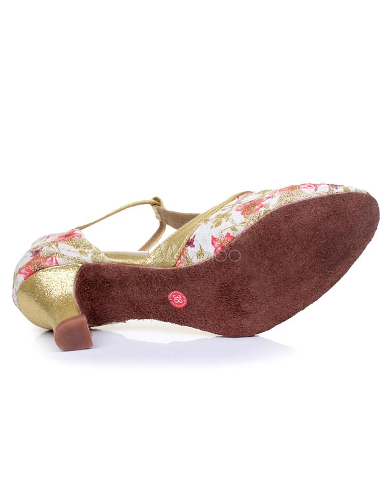 Impresión Multicolor de sandalias de baile latino correas brillo tacones para las mujeres hw75XBAjw