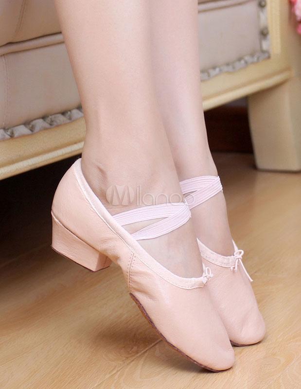 Zapatos de baile de mujer Pigskin Pink Round Toe Strap Zapatos de baile de ballet Mujeres Jazz Dance Shoes lmMFd7E5LV