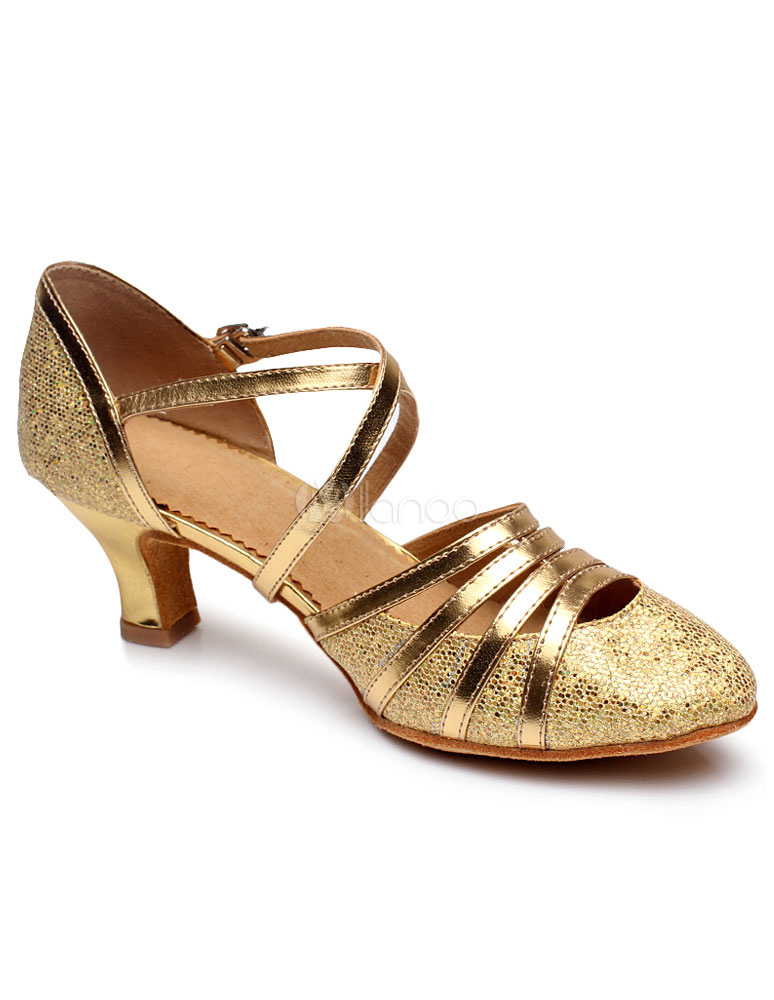 Sandalias de baile latino oro Cut-Out correas brillo tacones para las mujeres tqsI61c6fg