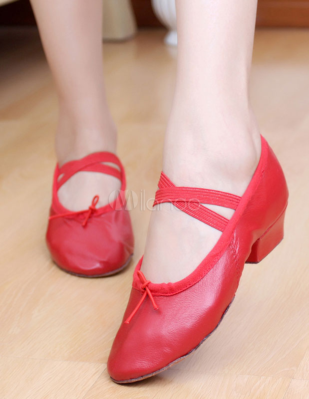 Zapatos de baile de mujer Pigskin Pink Round Toe Strap Zapatos de baile de ballet Mujeres Jazz Dance Shoes U1tAH
