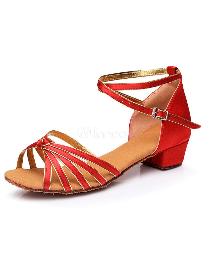 Baile latino rojo sandalias correas elegante satén tacones para las mujeres Outlet barato El mejor lugar precio barato Popular 5R5dSN