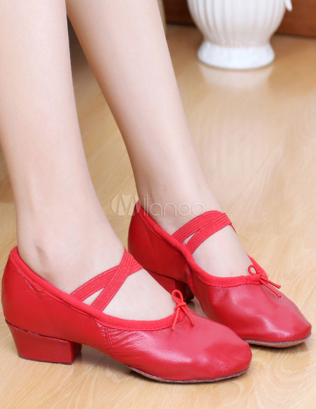 Zapatos de baile de mujer Pigskin Pink Round Toe Strap Zapatos de baile de ballet Mujeres Jazz Dance Shoes 35ILd