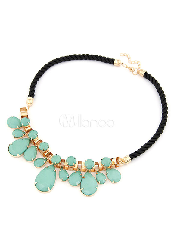 Multicolor Necklace Rhinestone Drop Pattern Metal Necklace for Women