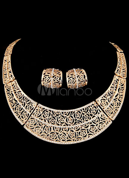 Gold Necklace and Earrings Rhinestone Cut Out Metal Jewelry Set