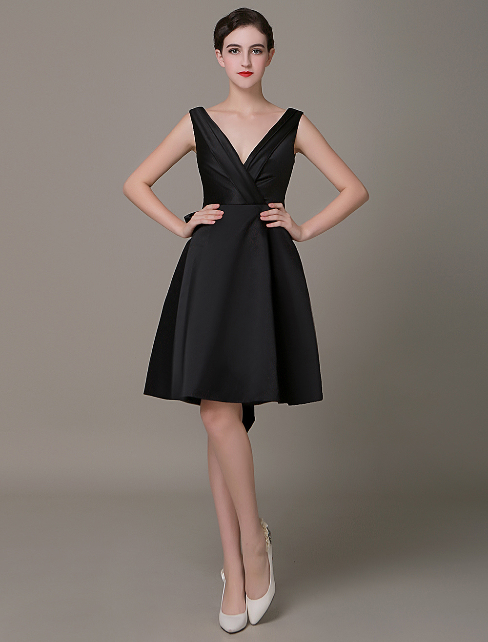 Plunging Black Cocktail Dress Pleated Bow Belt A-line Little Black Dress