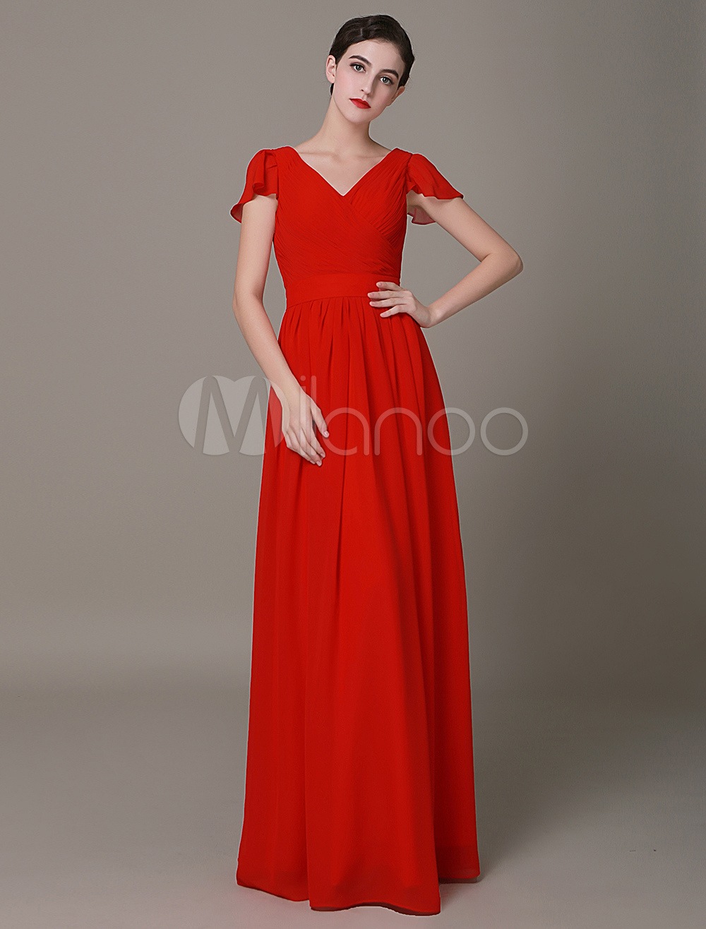 Buy V-neck Chiffon Braidsmaid Dress Petal Sleeves Pleated A-Line Chiffon Evening Dress for $119.99 in Milanoo store