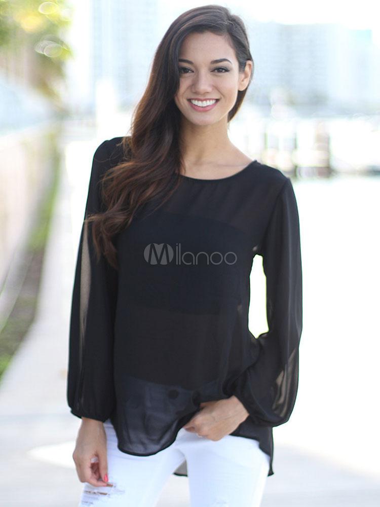 c8aad9edb6662 Blusa negra corte Top de Gasa de encaje para las mujeres - Milanoo.com