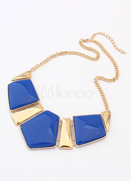 Buy Two-Tone Necklace Rhinestone Chic Geometric Pattern Metal Necklace for Women for $4.24 in Milanoo store