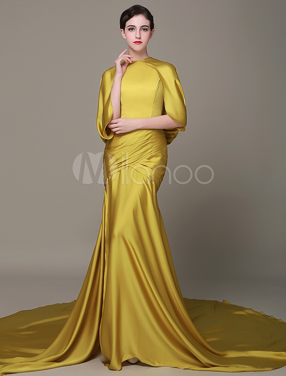 Golden Satin Evening Dress High Split Prom Dress 2018 Chaple Train Red Carpet Dress With Cape Milanoo