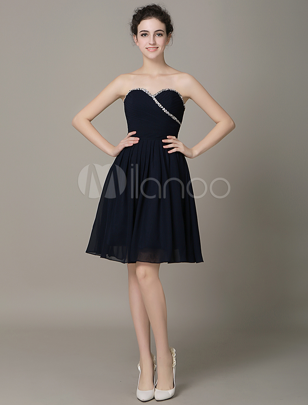 Buy Strapless Chiffon Braidsmaid Dress Sweetheart Beading Knee-Length Cocktail Dress for $109.99 in Milanoo store