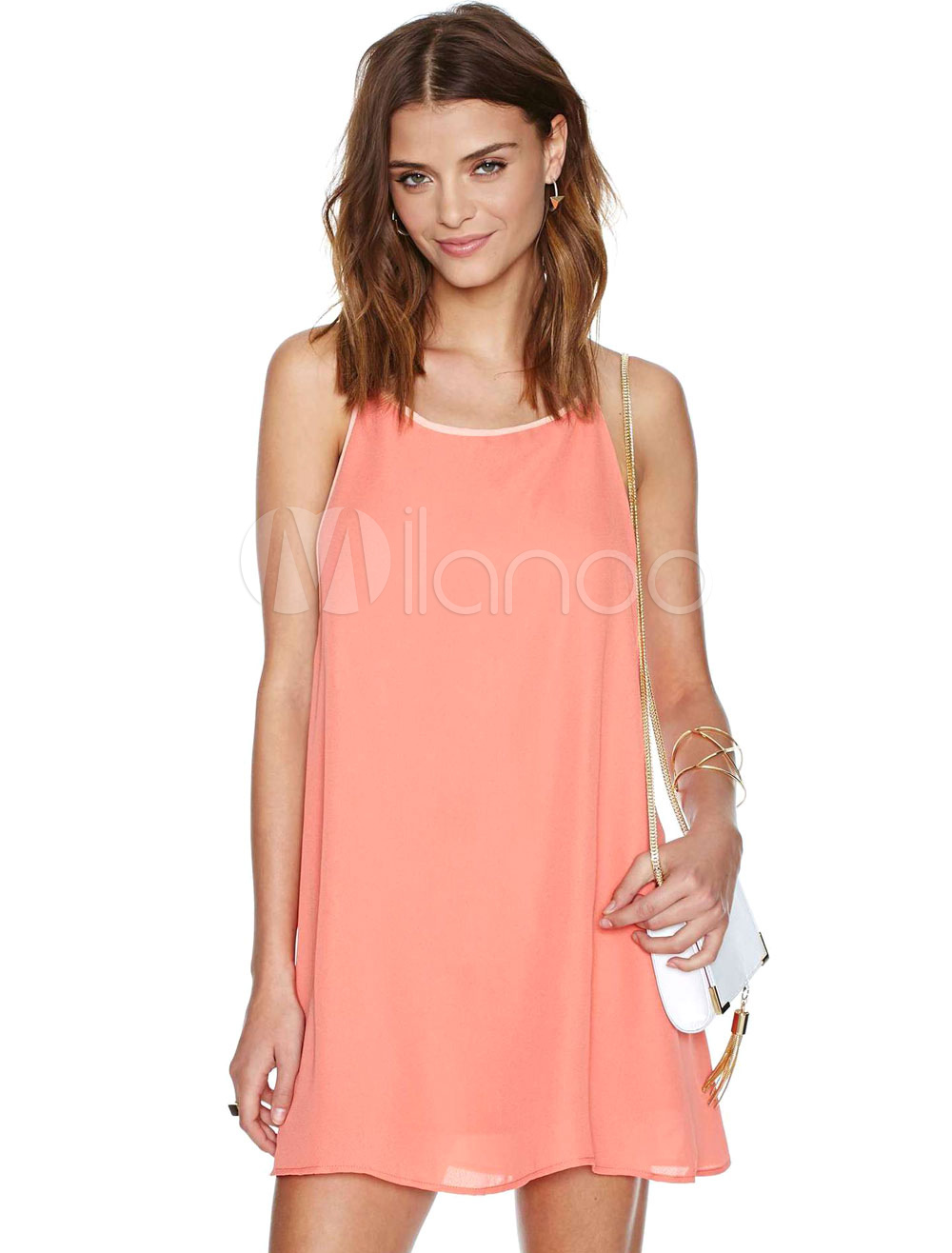 Buy Pink Shift Dress Straps Backless Chiffon Summer Dress for $17.99 in Milanoo store
