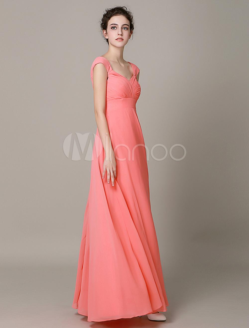Chiffon Braidsmaid Dress Short Sleeves Backless Pleated Maternity Braidsmaid Dress
