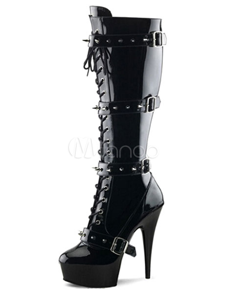 Black Boots Platform Buckle Lace Up Patent PU Heels for Women