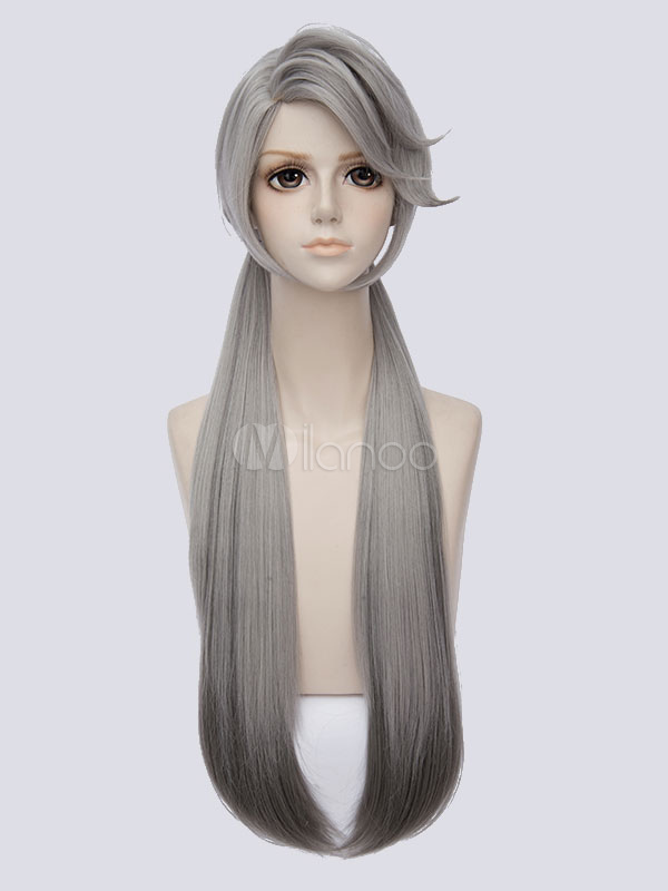 Zootopia Judy Hopps Rabbit Halloween Cosplay Wig Gray Long Straight  Synthetic wigs-No.1 ... fd60bf60e