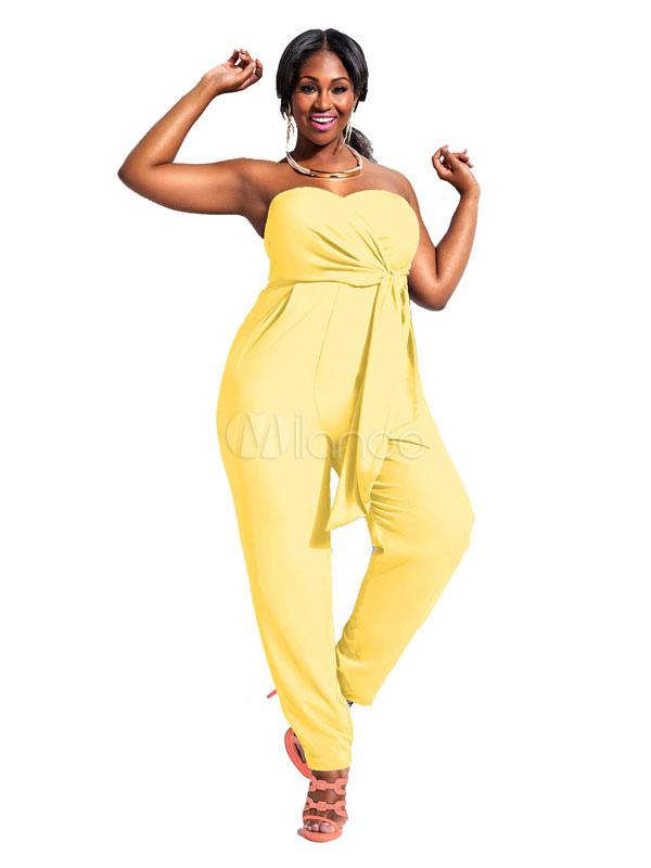 Macacão amarelo sem alças Sash macacão poliéster para mulheres-No.1 ... 377a4c24022