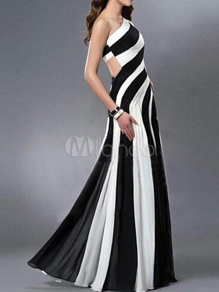 robe de soir e une paule asym trique dos nu rayures bicolores maxi robe. Black Bedroom Furniture Sets. Home Design Ideas