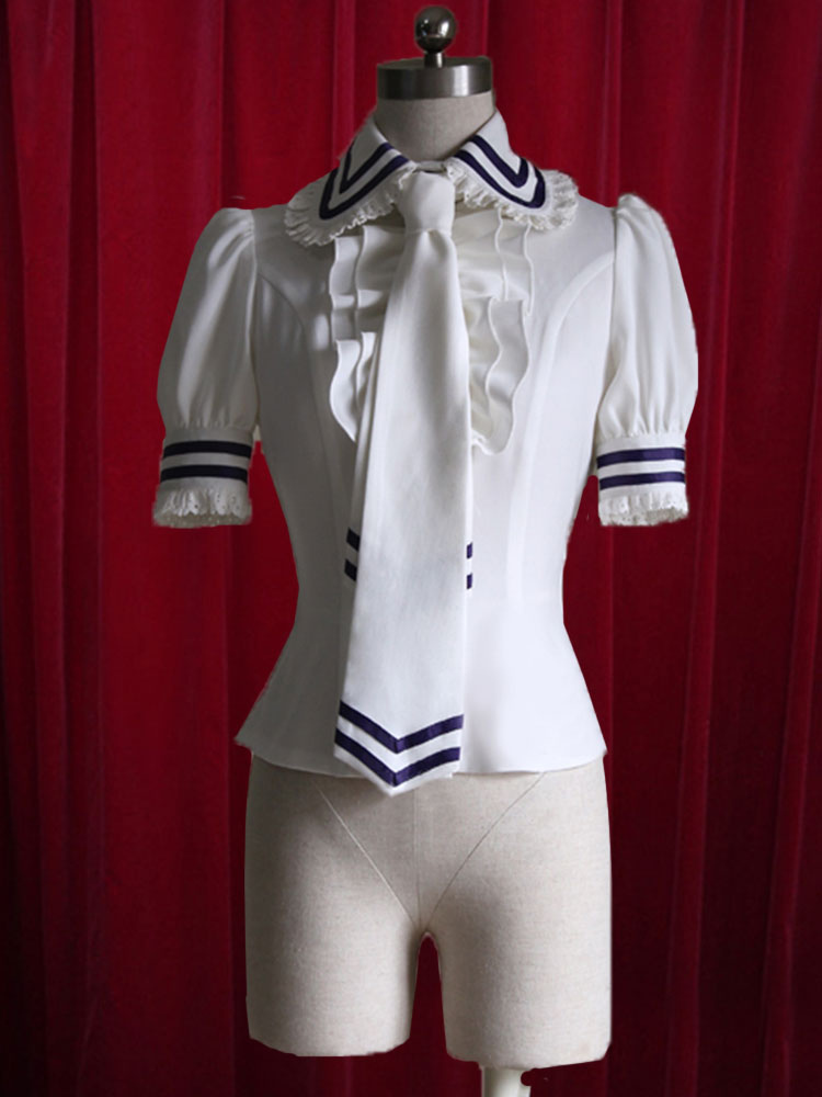 White Lolita Blouse Stripes Tie Ruffles Cotton Blouse for Women