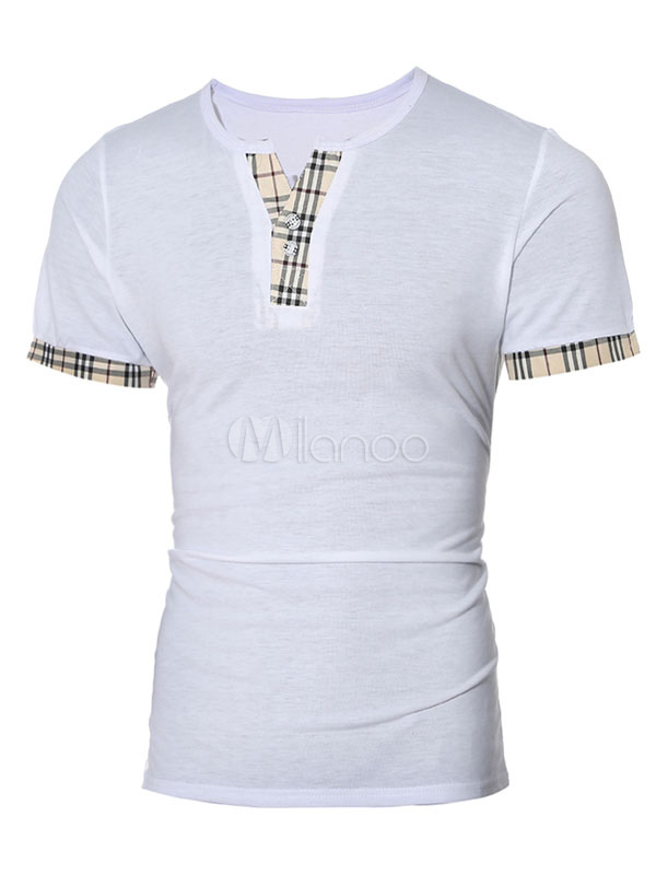 Men Casual T Shirt Plaid Print V Neck Button Short Sleeve T Shirt