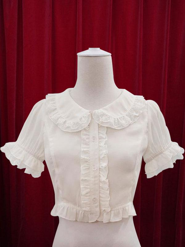 White Lolita Blouse Ruffles Cotton Blouse for Women