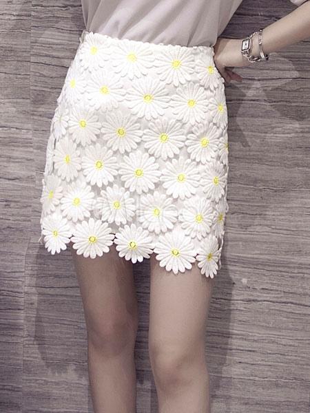 meilleure sélection dfb30 f55a8 Jupe courte blanche fleurs coupées sur jupe de dentelle Jacquard
