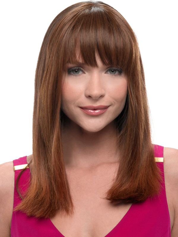 Chestnut Brown Wig Bang Straight Long Fiber Wig for Women