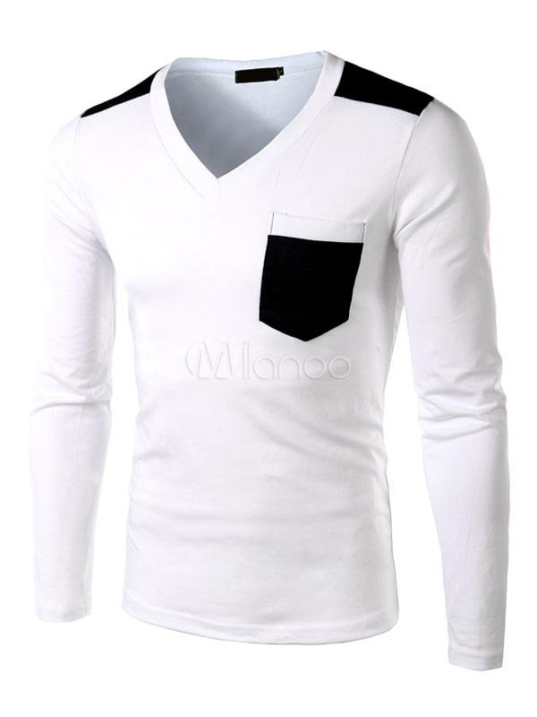 White T-Shirt Pockets Slim Fit Cotton T-Shirt for Men