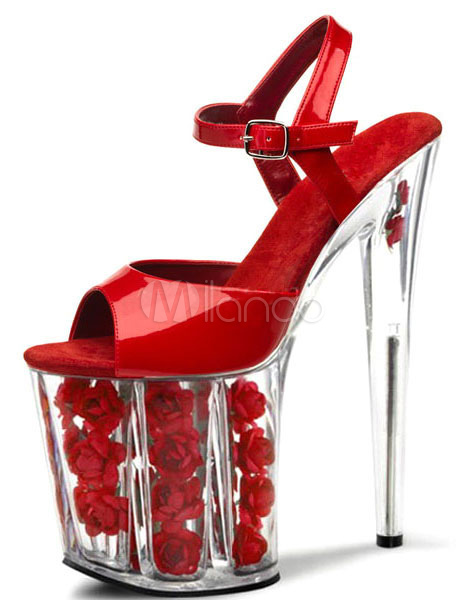 Sandales rouges ciel haute plate-forme fleurs PU talons pour femmes