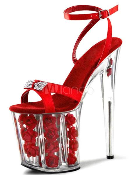 Red Sandals Sky High Platform Bow PU Heels for Women