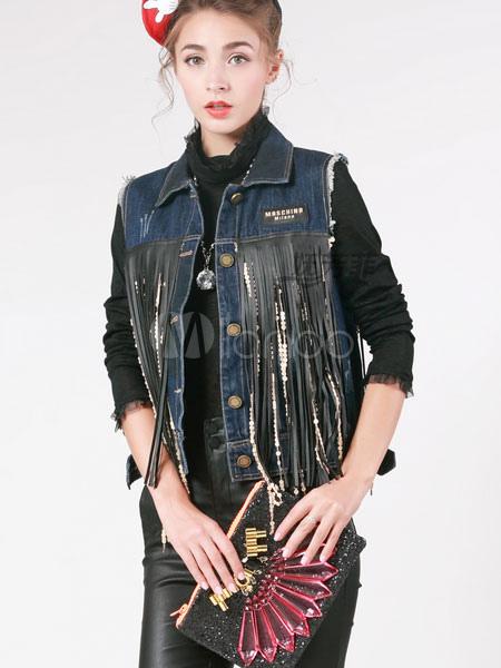 blaue weste fringe baumwolle jeans weste f r damen. Black Bedroom Furniture Sets. Home Design Ideas
