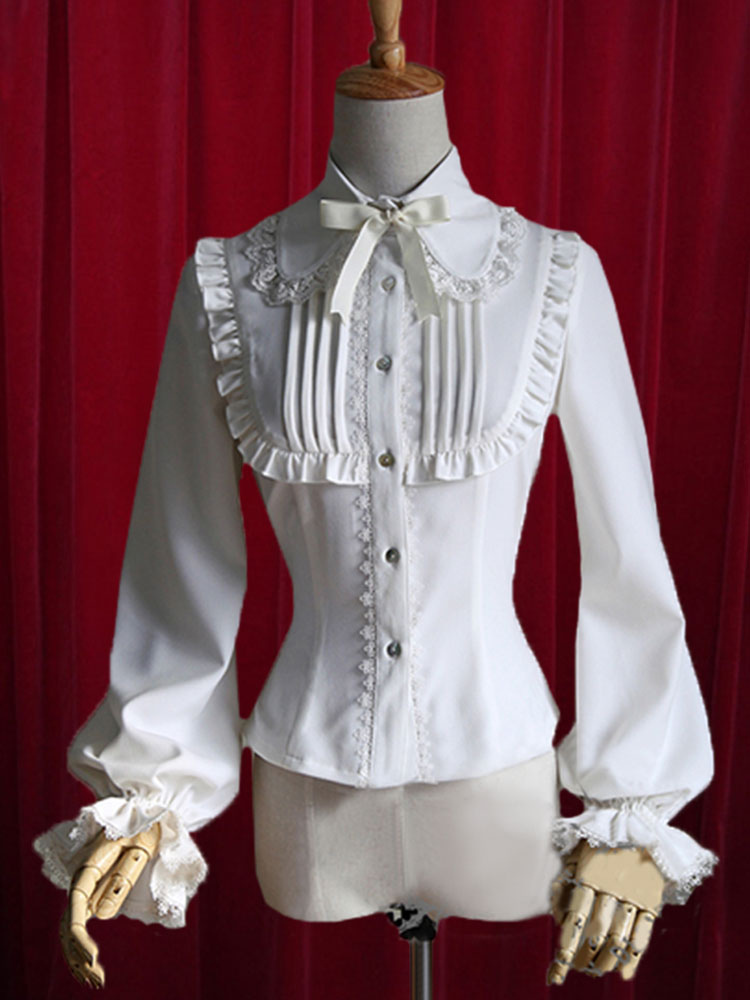 White Lolita Blouse Bow Ruched Cotton Blouse for Women