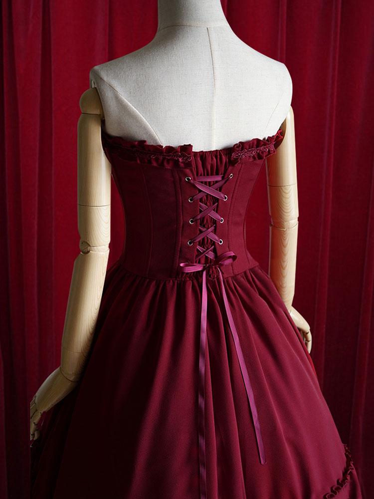 Burgundy Lolita Dress Bow Strapless Lace Up Cotton Dress