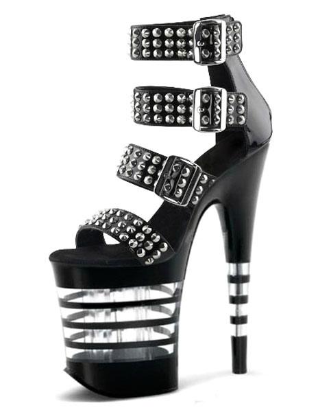 Sexy Noir Sandales À Talon 2019 Femmes Chaussures Rivets Plateforme mnw08vN