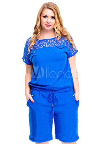 Buy Blue Jumpsuit Cut Out Cotton Blend Romper for Women for $25.49 in Milanoo store