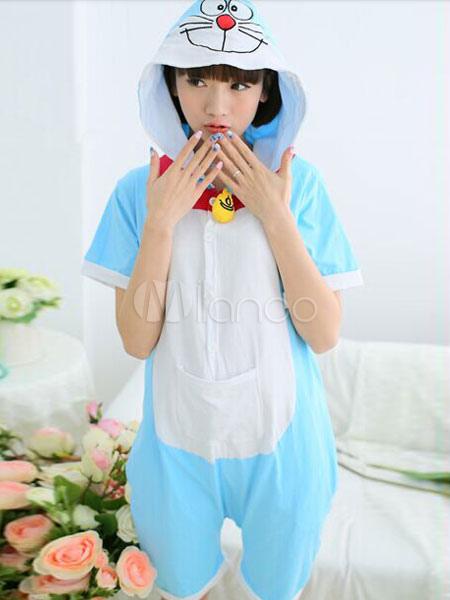 incontrare 1686d 33e0c Pigiama di cotone con cappuccio blu Costume Doraemon